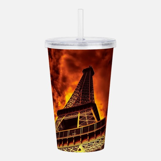 Eiffel Tower in fire Acrylic Double-wall Tumbler