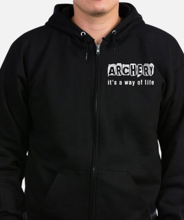 Archery it is a way of life Zip Hoodie (dark)
