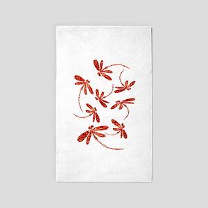 Scarlet Red Dragonflies Area Rug