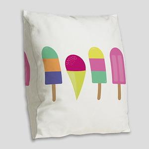 Popsicles Burlap Throw Pillow