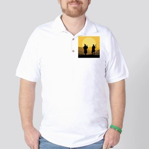 Scottish Sunset with bagpipes Golf Shirt