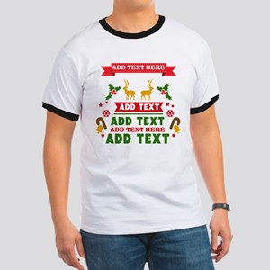 personalized add Text Christmas Ringer T