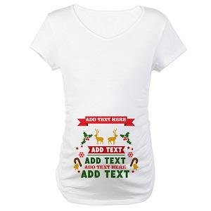 personalized add text christmas maternity t shirt - Maternity Christmas Shirts