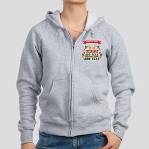 personalized add Text Christmas Women's Zip Hoodie