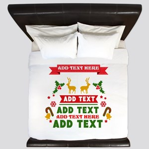 personalized add Text Christmas King Duvet