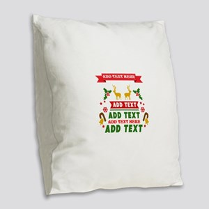 personalized add Text Christma Burlap Throw Pillow