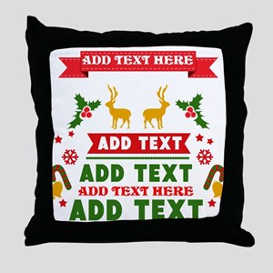 personalized add Text Christmas Throw Pillow