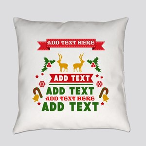 personalized add Text Christmas Everyday Pillow