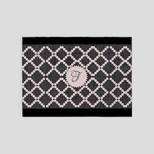 Cute Pink Black Pattern 5'x7'Area Rug
