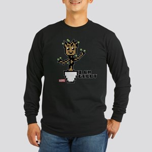 Guardians 8-Bit Groot Long Sleeve Dark T-Shirt