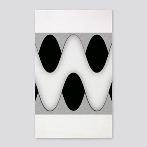 Black and White Wave Area Rug
