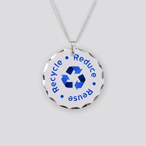 Blue Reduce Reuse Recycle Necklace Circle Charm