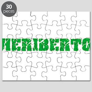 Heriberto Name Weathered Green Design Puzzle