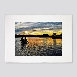 Canoeing on the Charles River 5'x7'Area Rug