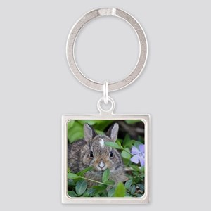 Baby Bunny Square Keychain