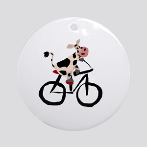 Cow Riding Bicycle Round Ornament