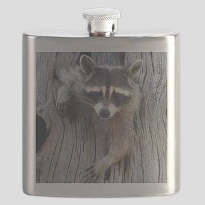 Raccoon in a Tree Flask