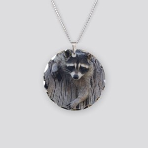 Raccoon in a Tree Necklace Circle Charm