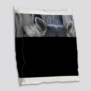 Raccoon in a Tree Burlap Throw Pillow