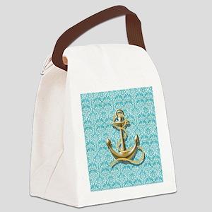 teal blue damask anchor Canvas Lunch Bag