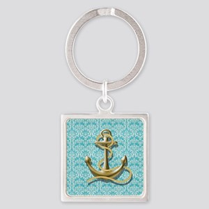 teal blue damask anchor Square Keychain