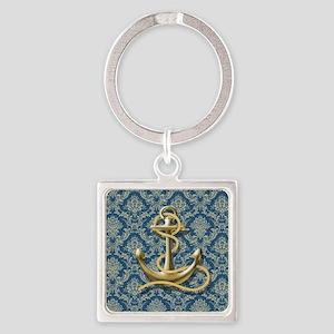 nautical navy blue damask anchor Square Keychain