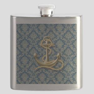 nautical navy blue damask anchor Flask