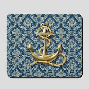 nautical navy blue damask anchor Mousepad