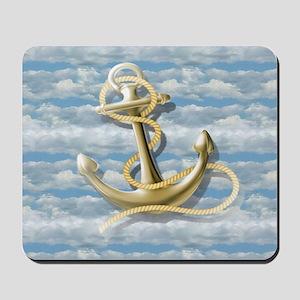 cloudy blue sky nautical anchor Mousepad