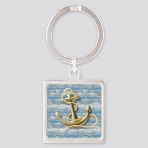 cloudy blue sky nautical anchor Square Keychain