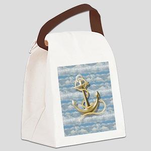 cloudy blue sky nautical anchor Canvas Lunch Bag