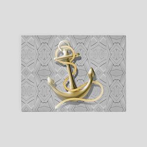 nautical anchor grey geometric patt 5'x7'Area Rug