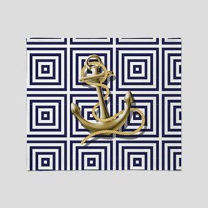 gold anchor blue geometric pattern Throw Blanket
