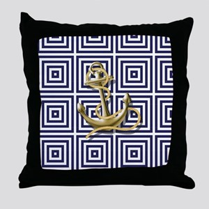 gold anchor blue geometric pattern Throw Pillow