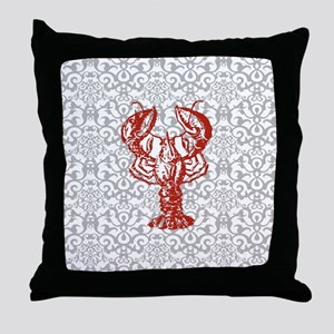 gray damask red lobster Throw Pillow