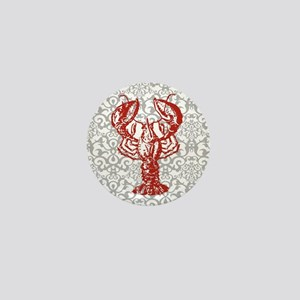 gray damask red lobster Mini Button
