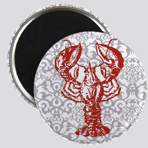 gray damask red lobster Magnet
