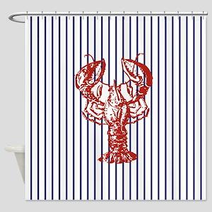 blue nautical stripes vintage lobst Shower Curtain