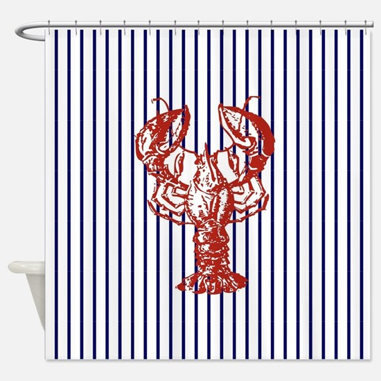 blue nautical stripes vintage lobst Shower Curtain
