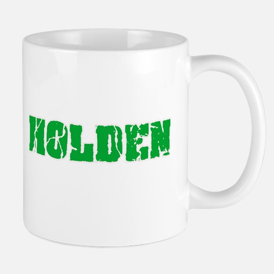 Holden Name Weathered Green Design Mugs