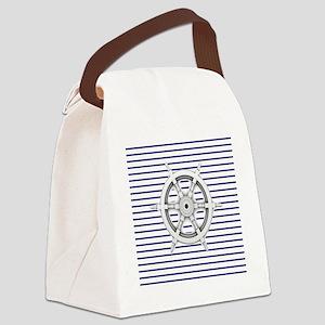 ship wheel blue nautical stripes Canvas Lunch Bag