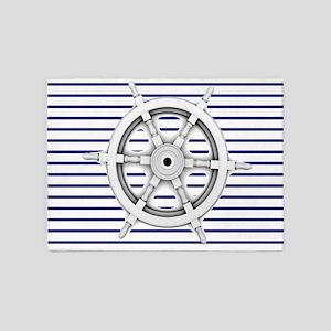ship wheel blue nautical stripes 5'x7'Area Rug