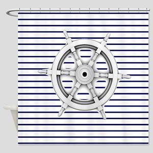 ship wheel blue nautical stripes Shower Curtain