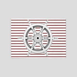 red stripes ship wheel nautical 5'x7'Area Rug
