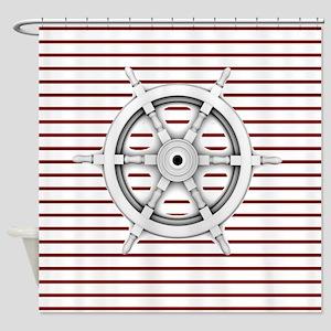 red stripes ship wheel nautical Shower Curtain