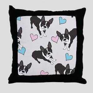Boston Terriers Pattern Throw Pillow