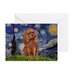 Starry Night Ruby Cavalier Greeting Cards (Pk of 2