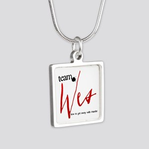 Team Wes Silver Square Necklace