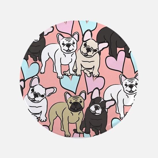 French Bulldogs Pattern Button