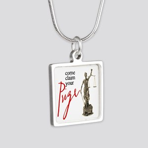 Claim Your Prize Silver Square Necklace